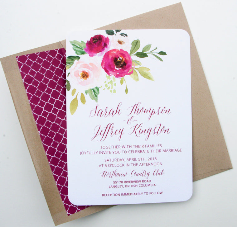 Burgundy Wedding Invitation Suite, Burgundy Watercolor Floral Invitations, Burgundy Floral Invitations, Printed Invitations, Sarah Suite