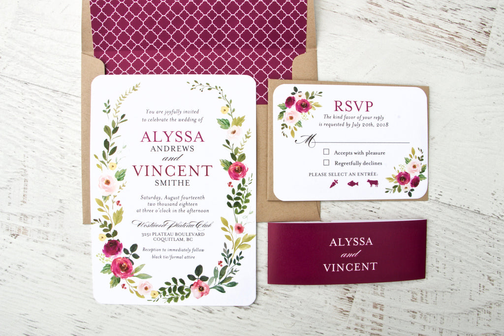 Burgundy Floral Wedding Invitation Suite, Burgundy Floral Wreath Invitations, Boho Wedding Invitations, Printed Invitations, Alyssa Suite