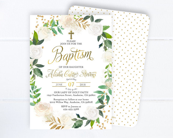 Greenery Baptism Invitation, White Floral Baptism Invite, White Roses and Gold Baptism Invitations, Printable or Printed, First Communion
