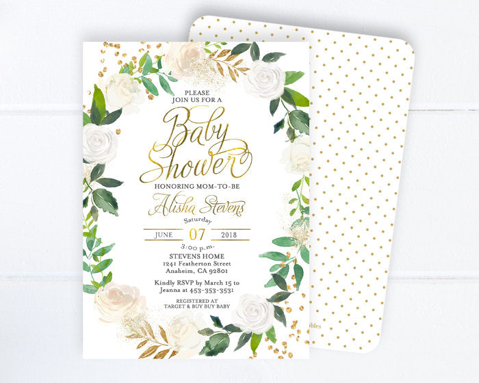 Greenery Bridal Shower Invitation, White Floral Bridal Shower Invite, Gold Glitter, Green, White Roses, Floral Bridal Brunch ANY EVENT