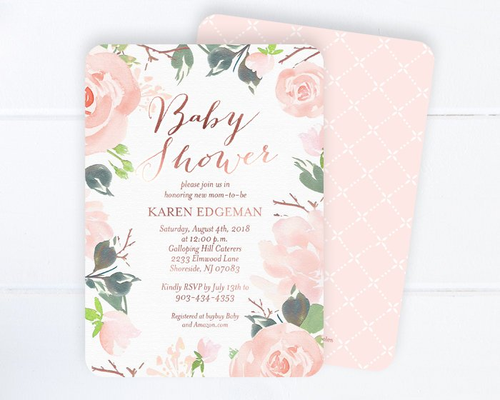 Floral Baby Shower Invitation, Baby Girl Shower Invite, Floral Baby Girl Shower Invitation, Blush Pink, Rose Gold Baby Shower Invite Girl
