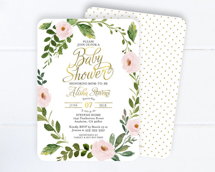 Floral 1st Birthday Invitation, Girl First Birthday Invitation, Watercolor Flowers, Greenery, Any Age Birthday Invite