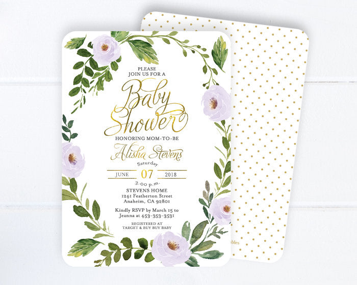 Floral Baby Girl Shower Invitation, Girl Baby Shower Invite, Floral Baby Shower Invitation Girl, Baby Sprinkle, Boho Baby Shower Invitation