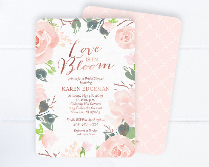 Love is In Bloom Bridal Shower Invitation, Floral Bridal Shower Invitation, Blush Pink and Rose Gold Bridal Shower Invite, ANY EVENT