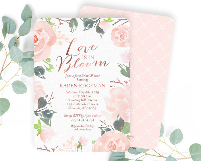 Floral bridal shower invitation blush pink and rose gold bridal floral bridal shower invitation blush pink and rose gold bridal shower invitation bridal brunch invitation bridal tea invite any event filmwisefo