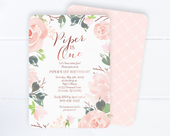 75th Birthday Invitation Floral Adult Blush Pink And Rose Gold Invite