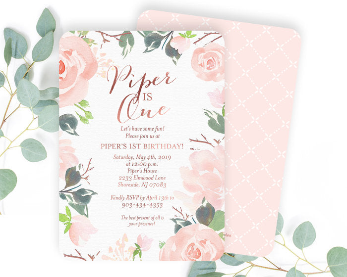 Blush Pink and Rose Gold First Birthday Invitation Girl, Floral 1st Birthday Invitation, Boho 1st Birthday Invitation, Pink and Rose Gold