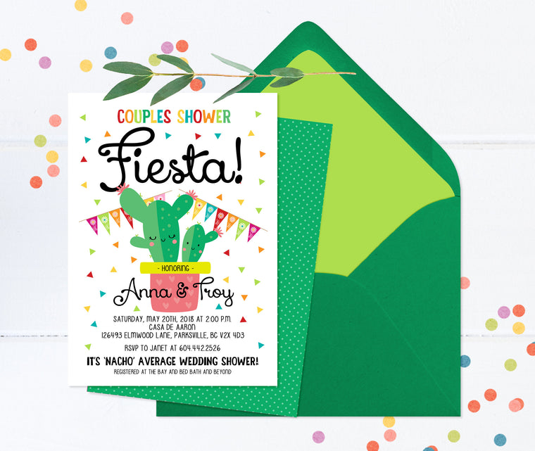 Couples Shower Fiesta Invitation, Couples Wedding Shower Fiesta, It's Nacho Average Wedding Shower Invite, Couples Wedding Shower Invitation