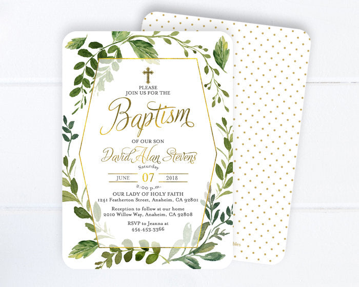 Greenery Baptism Invitation, Greenery Baptism Invite, White, Green and Gold Baptism Invitations, Printable or Printed, First Communion