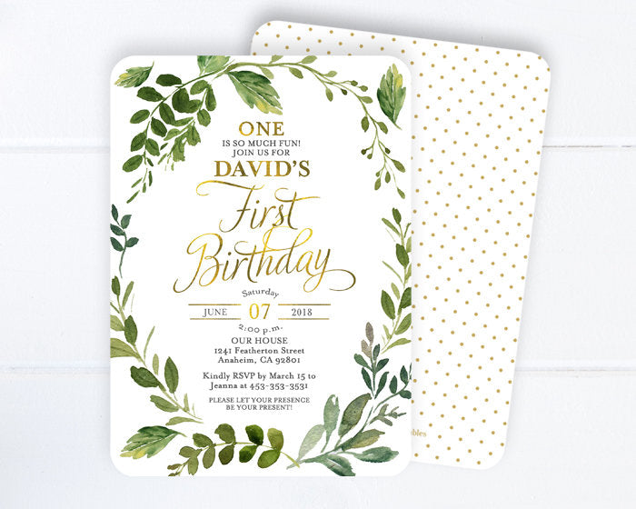 Boys Birthday Invite, Botanical Birthday Invitation, Girls Birthday, 1st Birthday, First Birthday, Garden Party, Greenery and Gold ANY EVENT