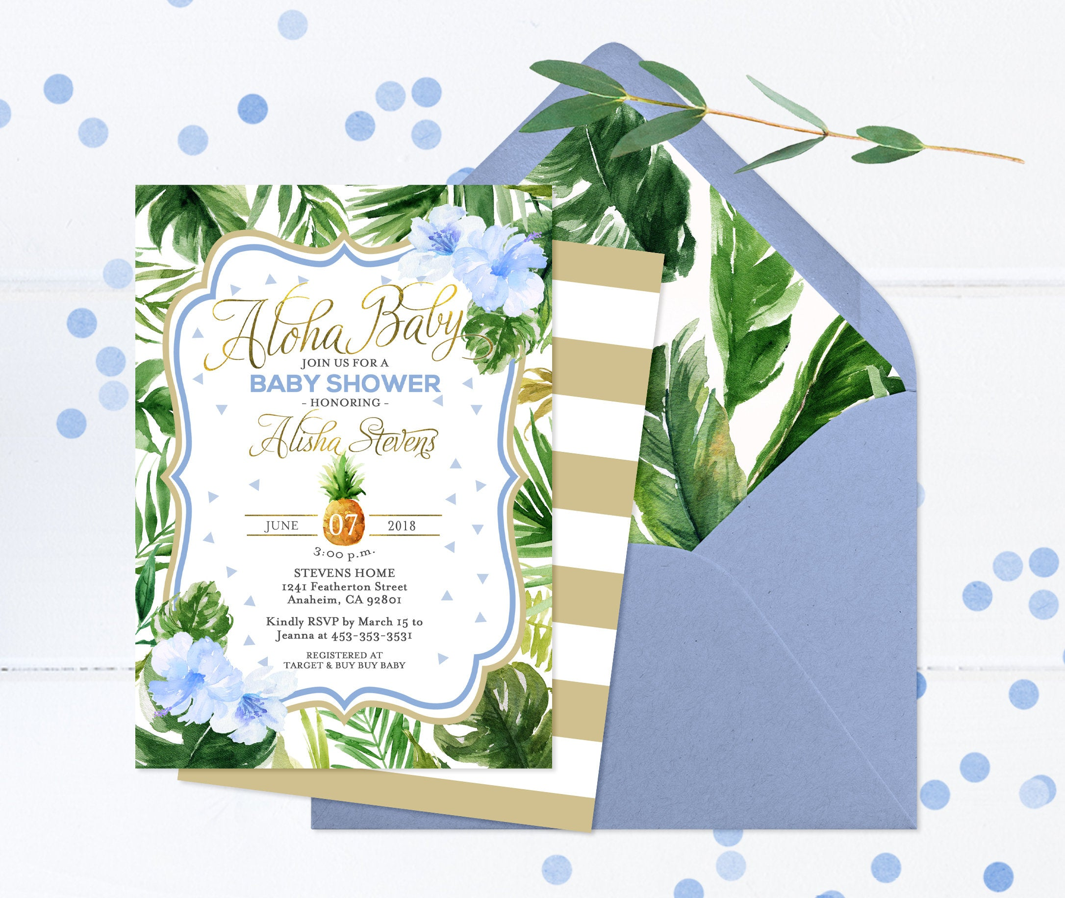 Tropical Birthday Invitation, Aloha Birthday Invitation, Girls First ...