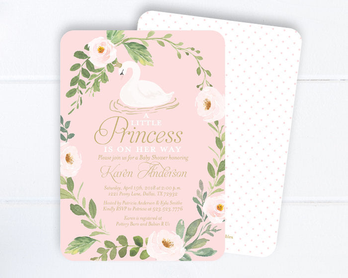 Swan Princess Baby Shower Invitation, Pink & Gold Floral Little Princess Baby Shower, Swan Baby Shower Invitation, Girl Swan Party Invite