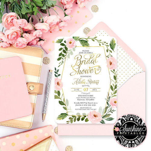 Pink and Gold Floral Bridal Shower Invitation, Blush Pink and Gold Bridal Shower, Greenery and Blush Pink Floral Bridal Shower Invite