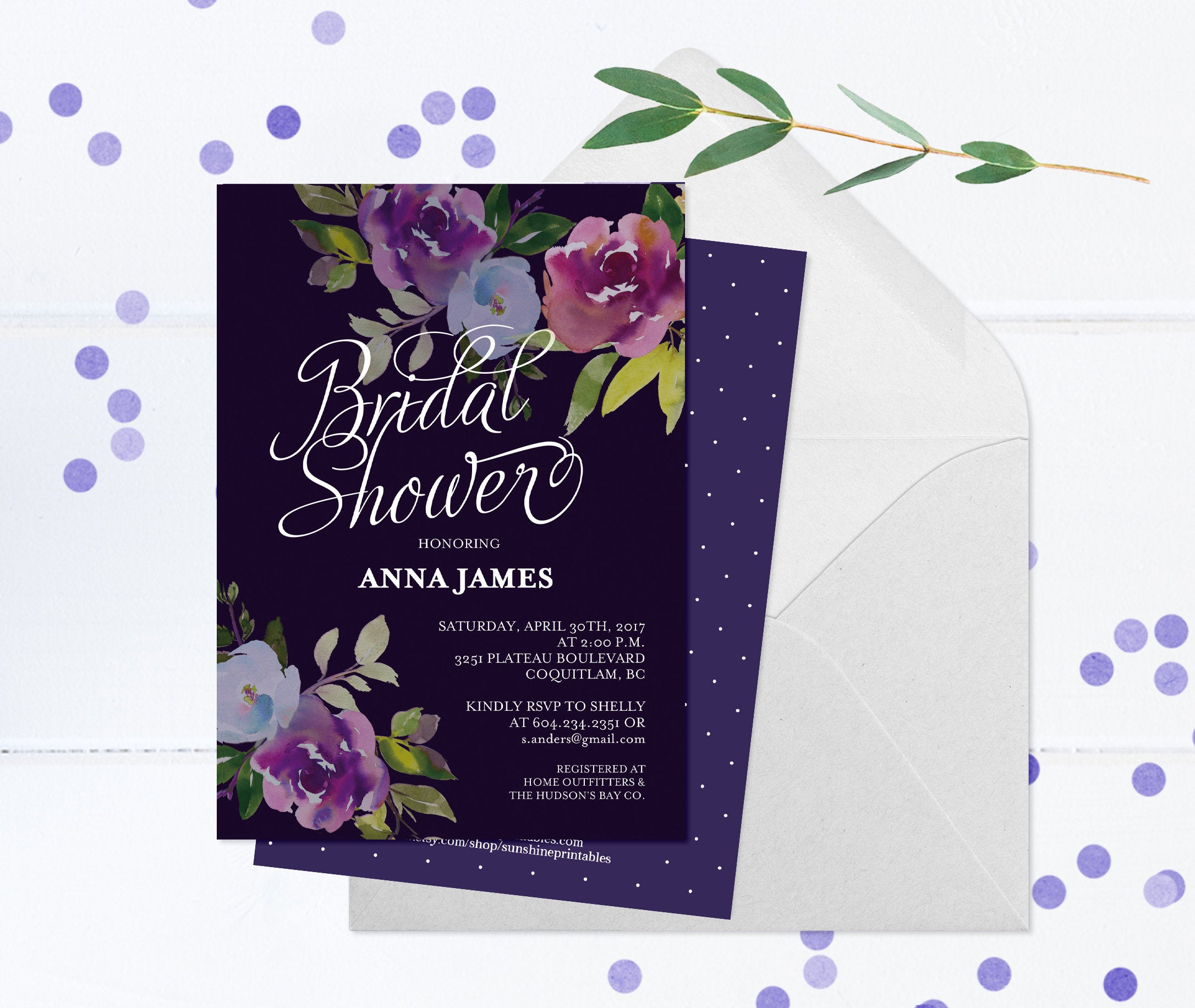 50th Birthday Invitation Moody Floral Dark Purple Invite Printed