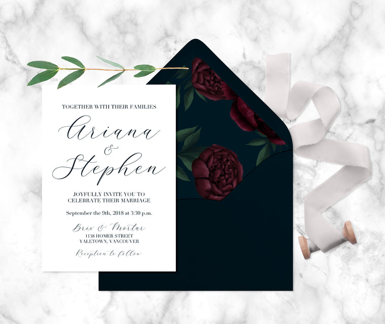 Dark Peony Floral Wedding Invitations, Printed Wedding Invitations, Calligraphy Style Wedding Invitation, Fall Floral Wedding, Navy Wedding