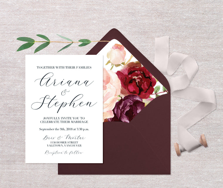 Fall Floral Wedding Invitations, Printed Wedding Invitations, Burgundy Floral Wedding Invitation, Calligraphy Style Wedding Invite, Burgundy