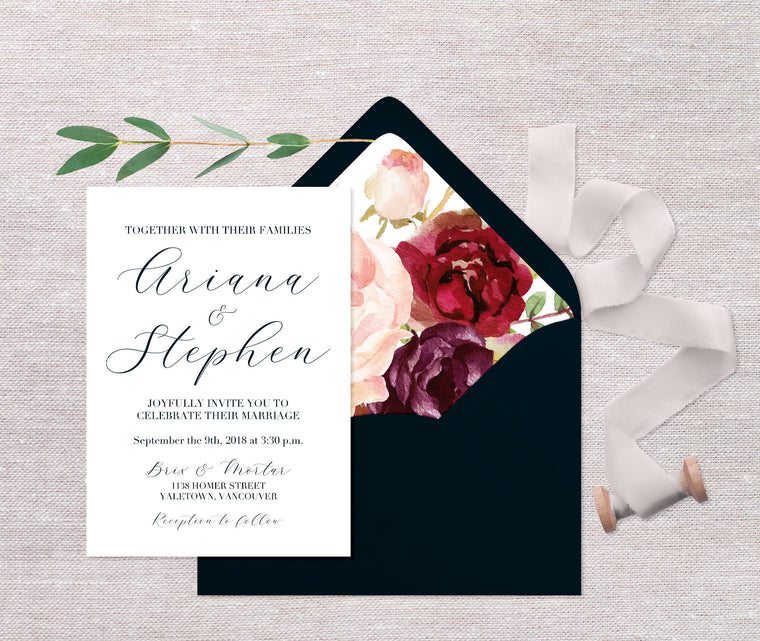 Navy and Burgundy Wedding Invitations, Fall Floral Wedding Invitation, Calligraphy Style Wedding Invite, Printed Wedding Invitations, Navy