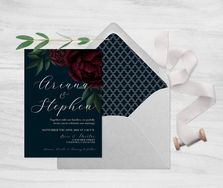 Navy and Floral Wedding Invitation, Moody Dark Floral Wedding Invite, Fall Wedding Invitation, Navy and Burgundy Wedding, Navy and Marsala