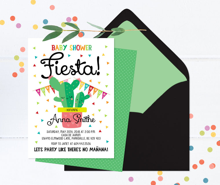 Fiesta Baby Shower Invitation, Baby Shower Fiesta Invitation, Gender Neutral Baby Shower Invitation, Mexican Baby Shower, Cactus Baby Shower