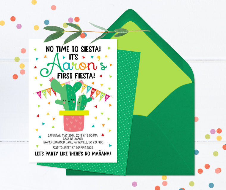 No Time to Siesta, Let's Fiesta Invitation, Fiesta 1st Birthday Invitation, First Birthday Fiesta Invite, Mexican Theme Birthday, Cactus