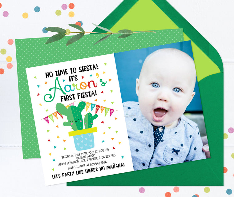 Fiesta 1st Birthday Invitation, First Birthday Fiesta Invite, Mexican Theme Birthday, Cactus First Birthday Invite, Cactus Fiesta Invitation