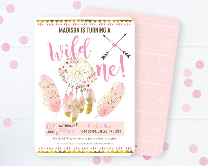 wild three birthday invitation dreamcatcher boho 3rd birthday