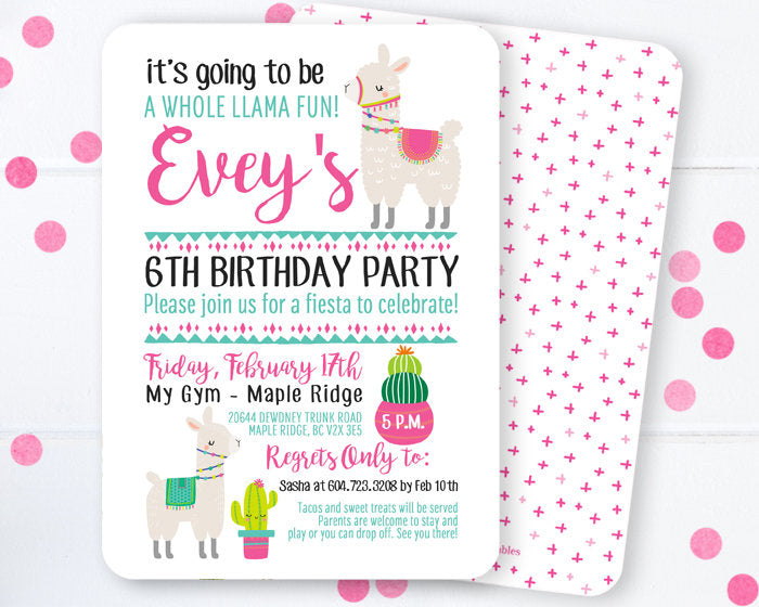 Llama Invitation, Llama Birthday Invitation, Fiesta Birthday Invitation, Girl's Birthday, Llama and Cactus, Llama Party Invite, Llama Llama