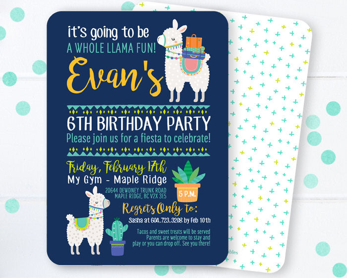 Llama Birthday Invitation Party Whole Oh La Theme Cactus Fiesta ANY AGE