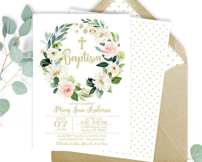 Baptism Invitation Girl, Printable or Printed Baptism Invitation, Baby Girl Baptism Invitation, Baby Dedication, Baby Girl Christening