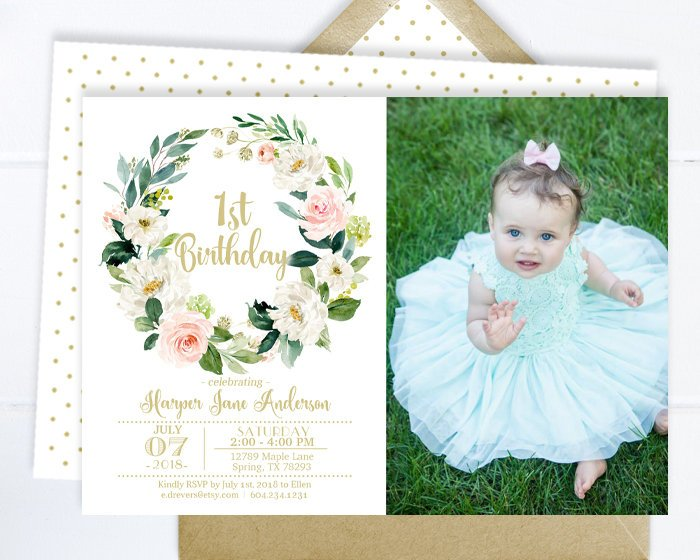 1st Birthday Invitation Girl with Photo, 1st Birthday Invite Pink and Gold Floral, Girl Birthday Invitation, Any Age, ANY EVENT