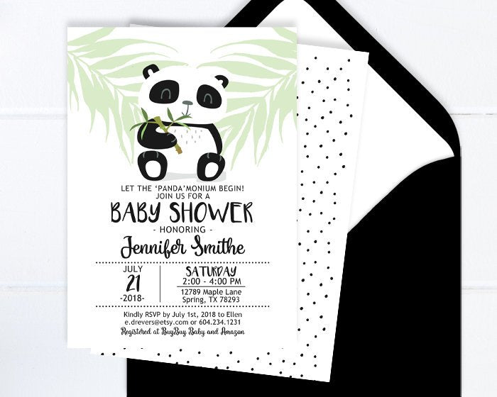 Panda Baby Shower Invitation, Gender Neutral Baby Shower Invite, Minimalist Baby Shower, Black and White Baby Shower, Printable or Printed