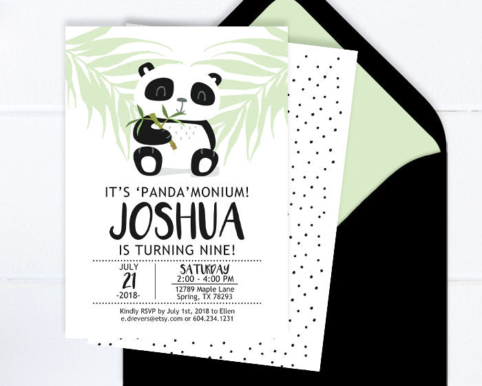 Panda Birthday Invitation, Panda Party Invite, Kids Birthday Invitation, Minimalist Birthday, Black and White Panda Birthday Party