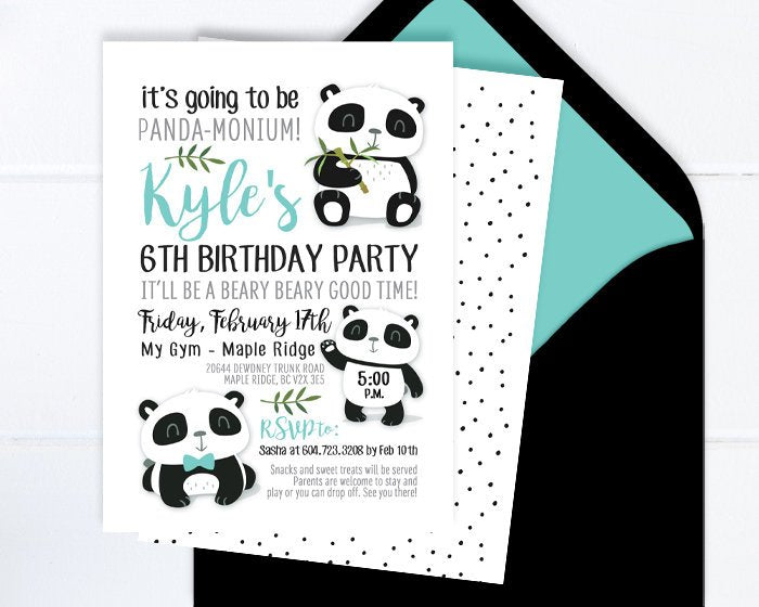 Panda Birthday Invitation, Panda Invitation, Panda Party Invite, Kids Birthday Invitation, Panda Party Theme, Black and White, Panda Bears