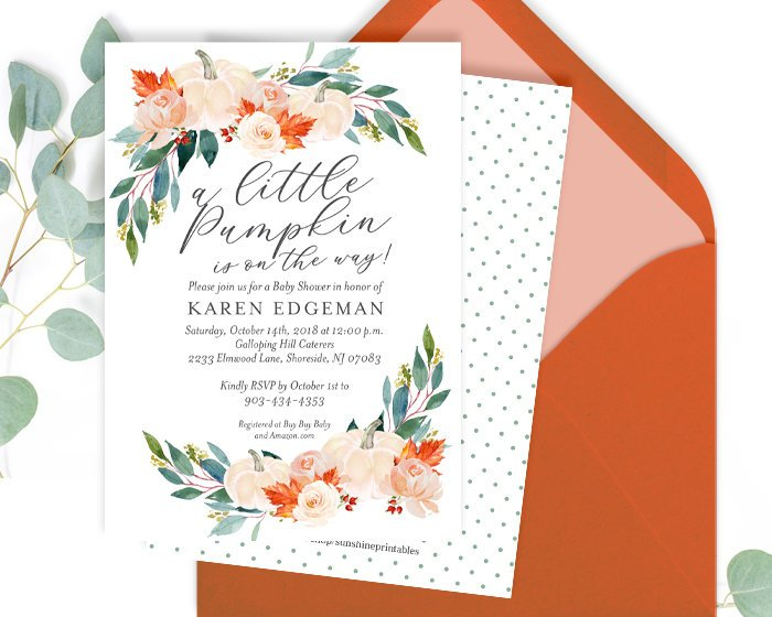 Fall In Love Shower Invitation, Fall Bridal Shower Invitation, Autumn Bridal Shower Invite, White Pumpkin, Floral, Printed or Printable