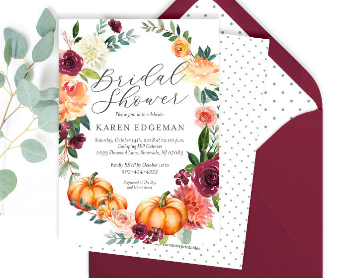 Fall Bridal Shower Invite, Fall Bridal Invitation, Autumn Bridal Shower Invitation, Fall Floral Bridal Shower Invite, Pumpkins and Flowers
