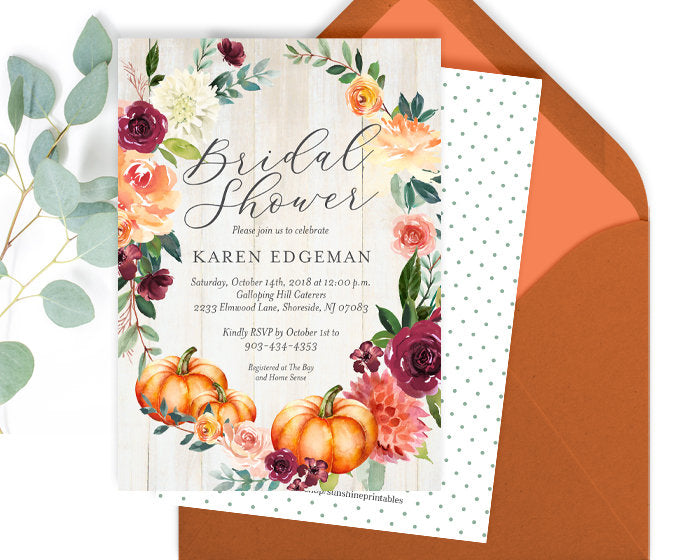 Rustic Fall Bridal Shower Invite, Fall Bridal Invitation, Rustic Bridal Shower Invitation, Fall Floral Bridal Shower Invite, Pumpkin Floral
