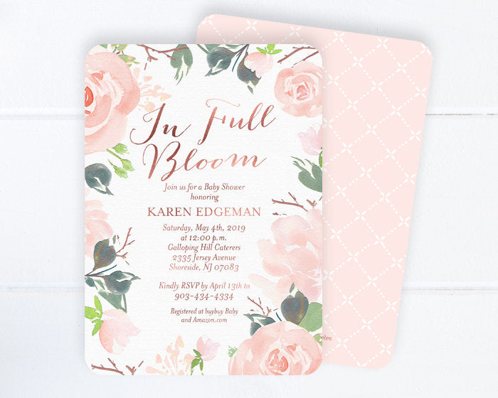 In Full Bloom Baby Shower Invitation, Floral Baby Shower Invite, Baby Girl Shower Invitation, Baby Shower Invite Girl, Blush Pink, Rose Gold