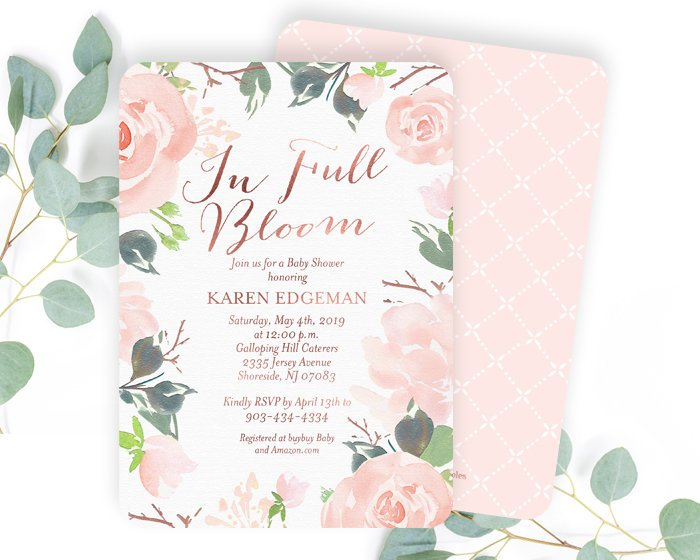 5fd668f47cad0 Floral Baby Shower Invitation, Baby Girl Shower Invite, Floral Baby Girl  Shower Invitation, Blush Pink, Rose Gold Baby Shower Invite Girl