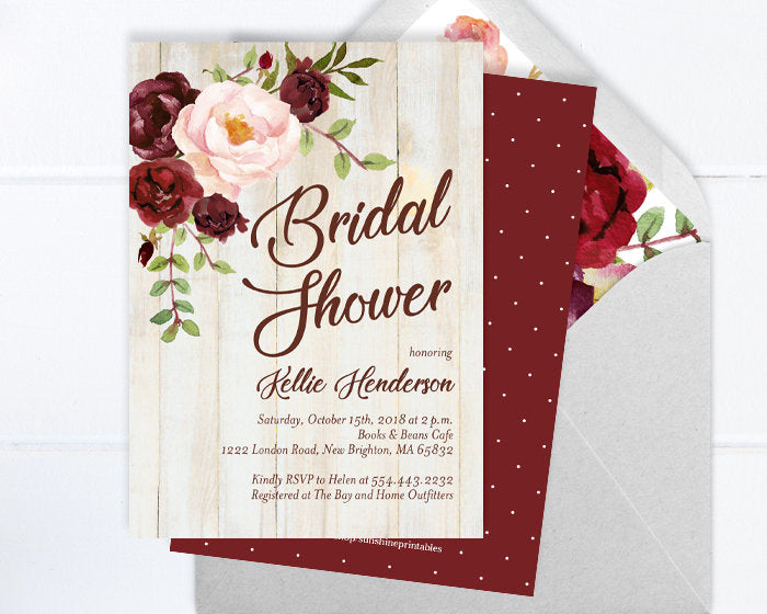 Rustic Bridal Shower Invitation, Fall Bridal Shower Invite, Burgundy and Blush Peony Floral Bridal Shower Invite, Barn Wood, ANY EVENT