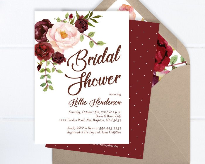 Fall Floral Bridal Shower Invitation, Fall Bridal Shower Invite, Burgundy and Blush Peony Floral Bridal Shower Invite, ANY EVENT