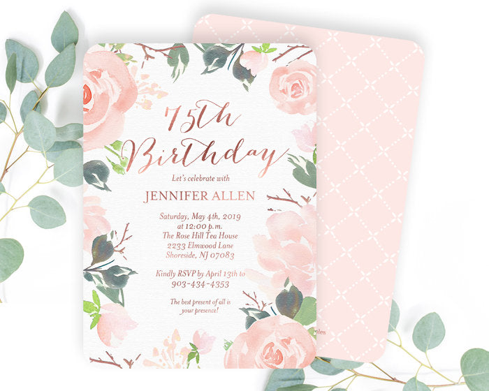 75th Birthday Invitation, Floral Birthday Invitation, Adult Birthday Invitation, Blush Pink and Rose Gold Birthday Invite, Floral Invitation