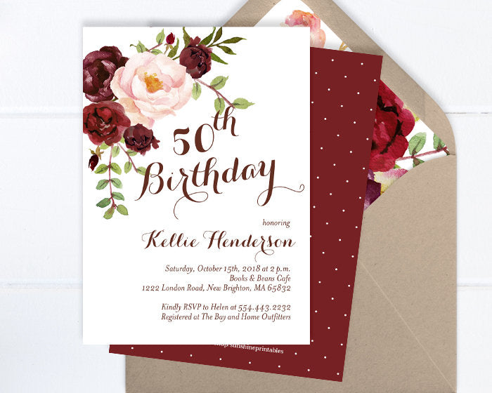 Adult Birthday Invitation Fall 50th Floral For Woman Womens Invite Peony ANY AGE