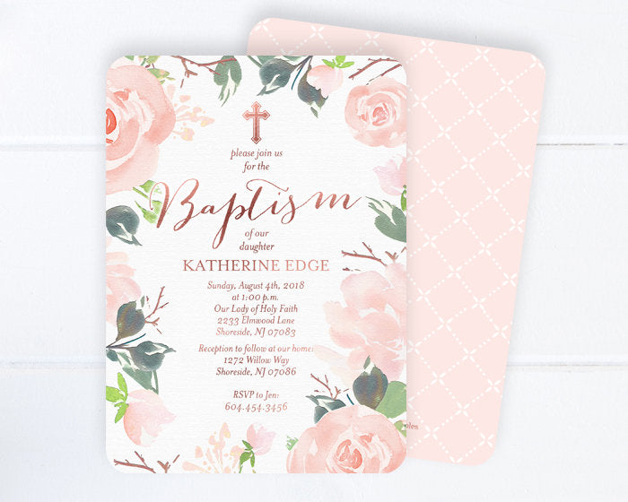 baby girl baptism invitation blush pink and rose gold baptism