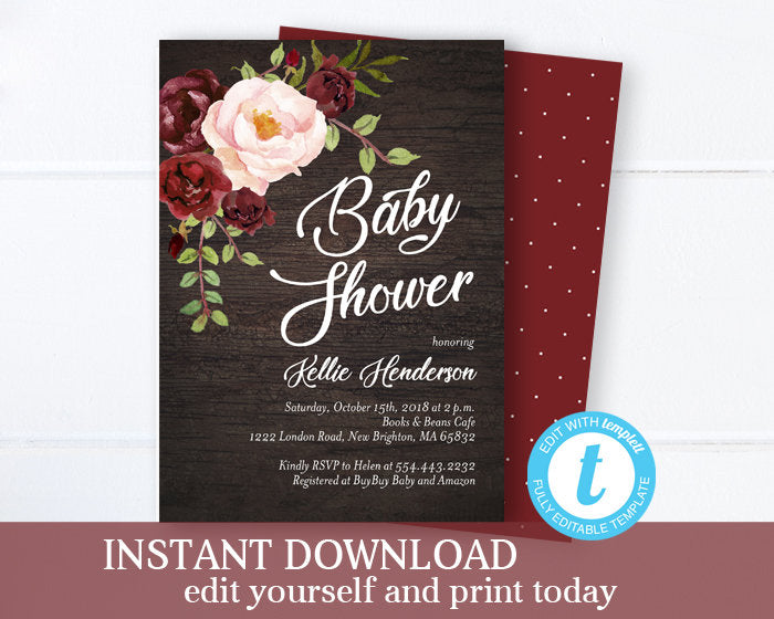 Burgundy and Blush Floral Bridal Shower Invitation, Fall Bridal Shower Invite, Editable Invitation, Instant Download, Templett