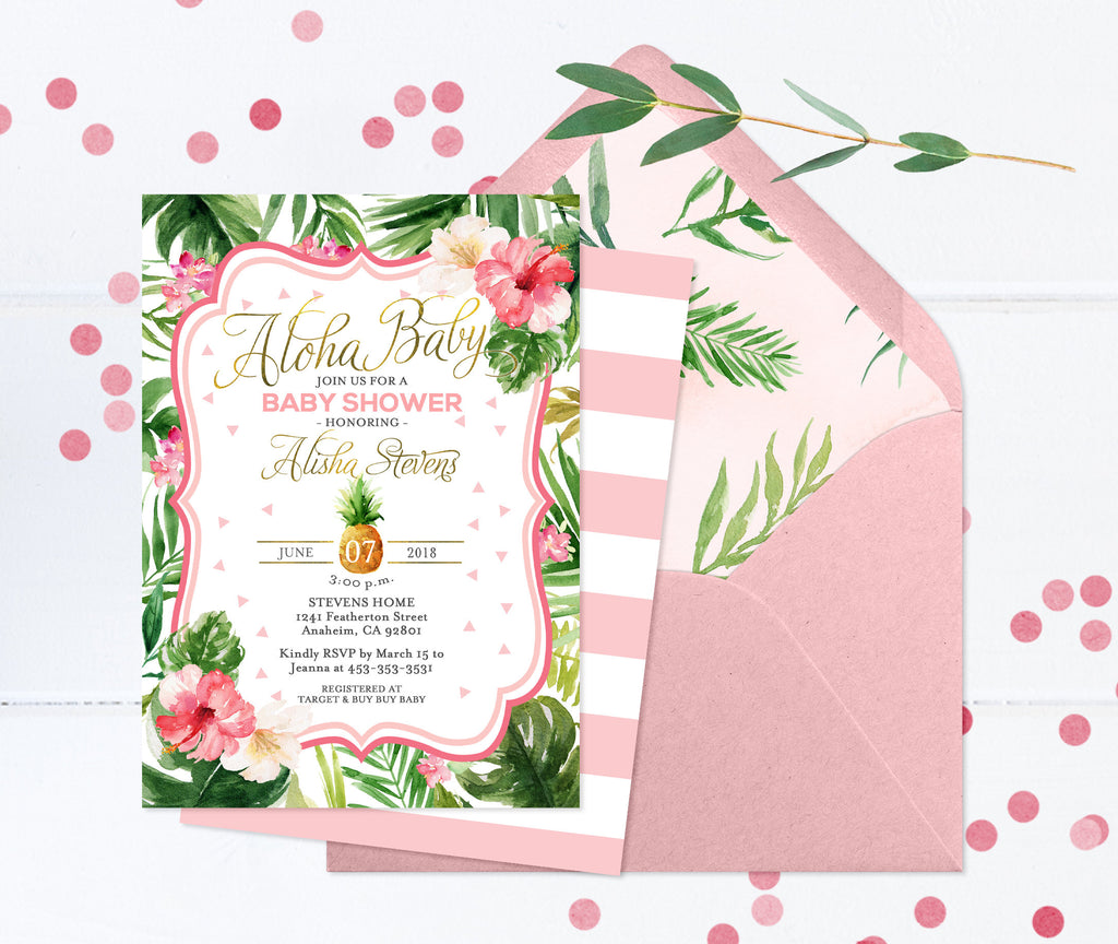 Aloha Baby Shower Invitation, Pineapple Baby Shower Invitation, Luau Baby Shower Invitation, Hawaiian Baby Shower Invite, Baby Girl Shower