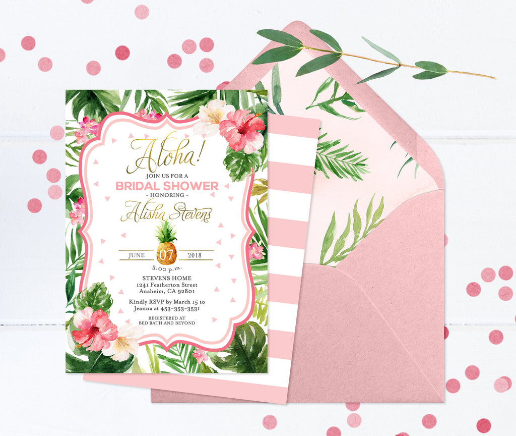 Tropical Bridal Shower Invitation, Aloha Bridal Shower Invites, Hawaiian Bridal Shower, Luau Bridal Shower, Digital or Printed Invites