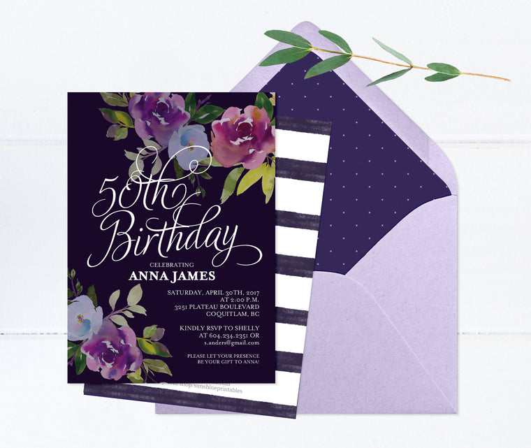 Purple Floral Birthday Invitation, Purple Birthday Invite, Floral Birthday Invitation, 50th Birthday Invitation, Fall Birthday, ANY AGE