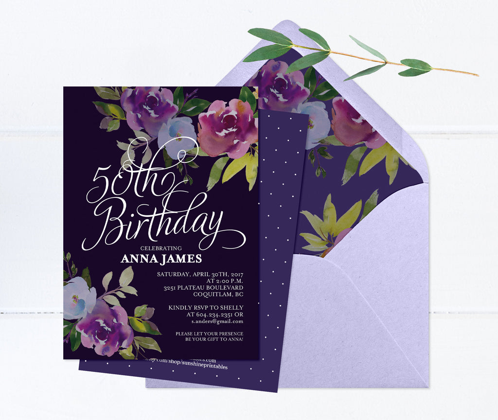 50th Birthday Invitation, Moody Floral Birthday Invitation, Dark Purple Floral Birthday Invite, Printed or Printable Invitations, ANY EVENT