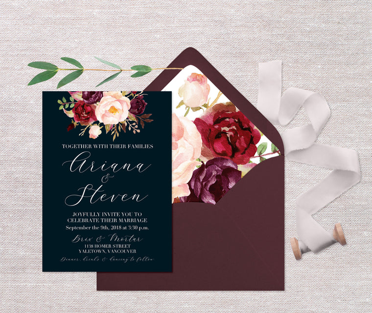 Navy Blue Floral Wedding Invitations, Moody Dark Floral Wedding Invite, Fall Floral Wedding Invitation, Navy and Marsala