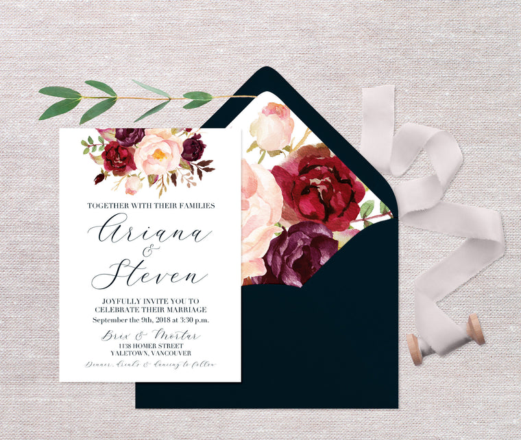 Calligraphy Style Wedding Invite, Navy and Burgundy Floral Wedding Invitations, Printed Wedding Invitations, Fall Wedding Invite